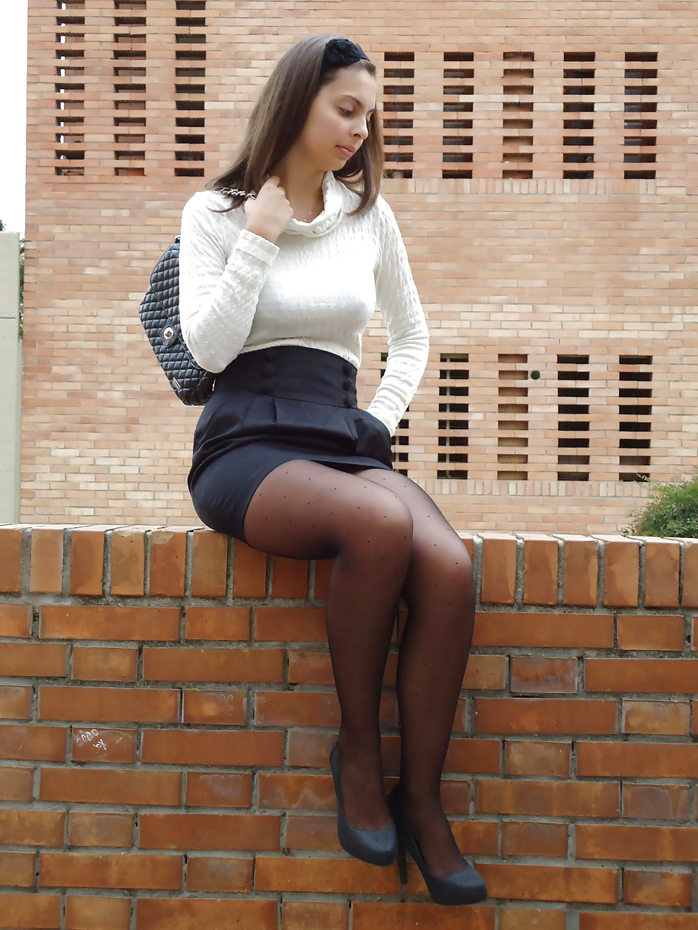 Young Teen Pictures: Teen Nylon Black Stockings